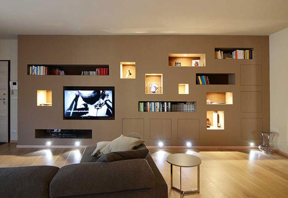 Librerie bianchi bosoni architetti associati savona for Parete soggiorno cartongesso